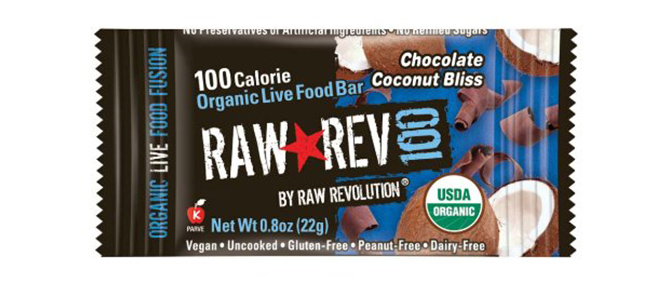 Raw Rev 100 Chocolate and Coconut Organic Live Food Bar