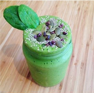 Spirulina Pumpkin Seed Smoothie with Cacao Nibs