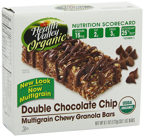 Health Valley Organic Multigrain Granola Bars with chocolate