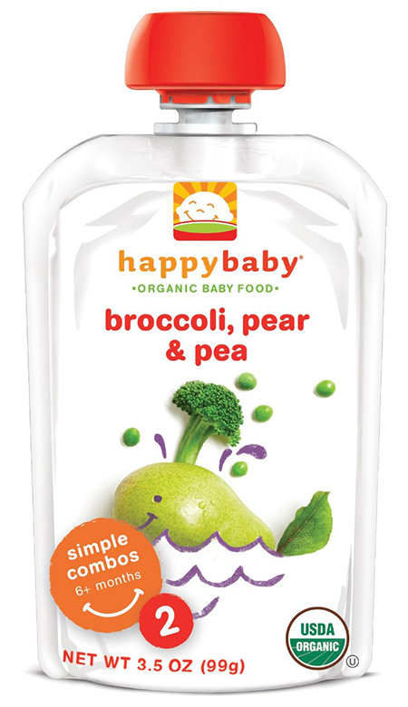 Happy Baby Organic Baby Food with Broccoli, Pear and Pea