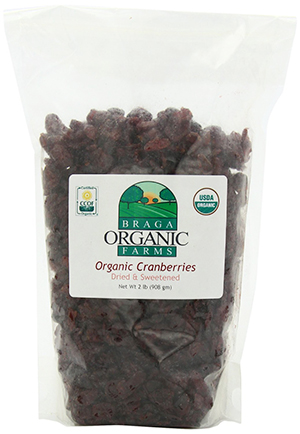 Braga Organic Farms certified organic dried cranberries