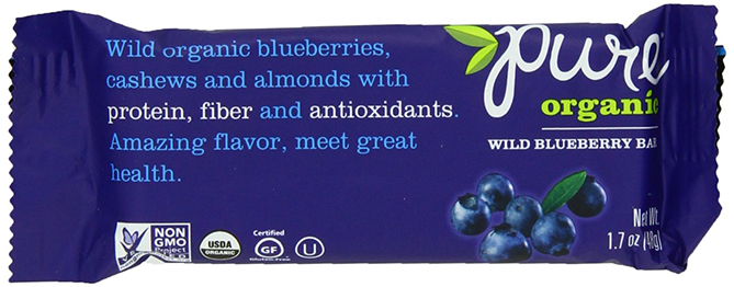 Pure Organic Raw Nut And Fruit Bar With Wild Blueberries