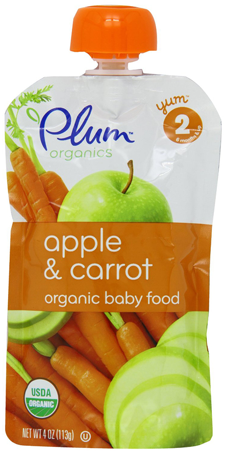 Organic Baby Pouches by Plum Organics, With Apple and Carrot