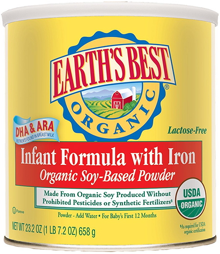 Organic Soy Infant Formula by Earth's Best, With Iron