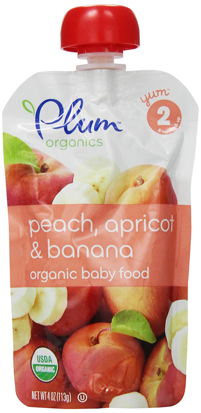 Organic Baby Pouches with Peach, Apricot and Banana, by Plum Organics