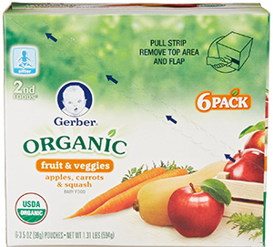 Apple Carrot and Squash Baby Food Pouches by Gerber