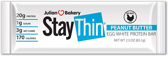 Organic peanut butter and egg white protein bar by Julian Bakery