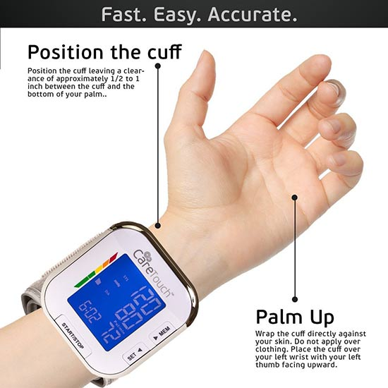 Automatic Wrist Blood Pressure Monitor by Care Touch3