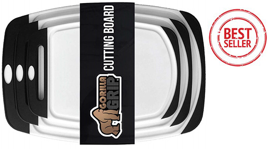 Gorilla Grip - Reversible & Thick Plastic Cutting board set