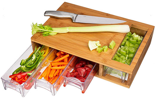 Simpli Better - bamboo cutting board with 4 trays (drawers)