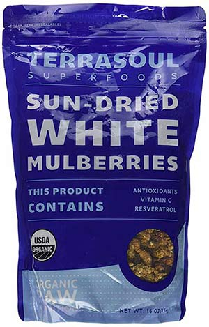 Organic Dried White Mulberries by Terrasoul Superfoods