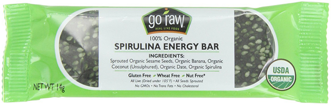Go Raw energy bar with Spirulina