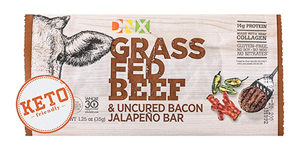 Grass-Fed Beef Protein Snack – Uncured Bacon and Jalepeno by DNX