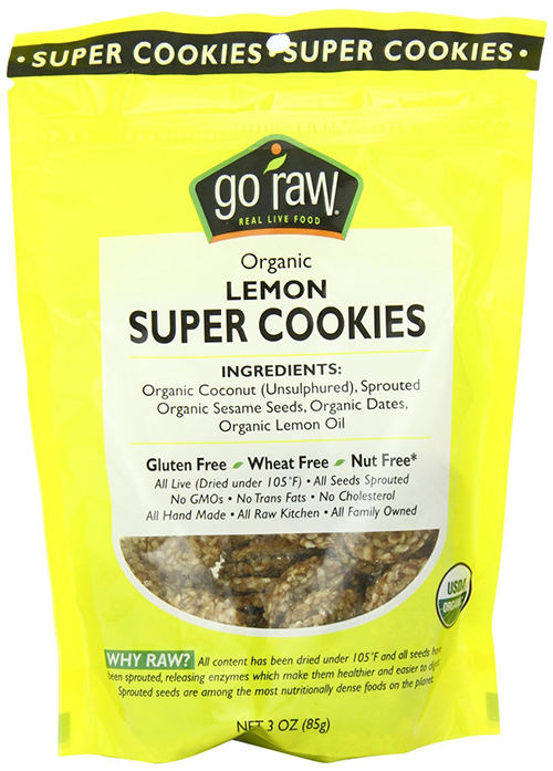 Organic Lemon Cookies by Go Raw, with Sesame, Coconut and Dates