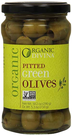 Pitted Organic Green Olives by Divina