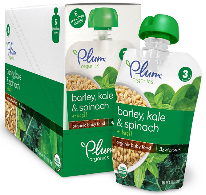 Plum Organics Baby Pouches with Barley and Greens