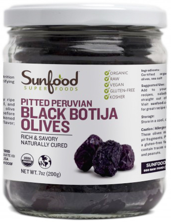 Raw Organic Black Olives by Sunfood, Dehydrated and Pitted