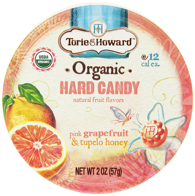 Torie and Howard Organic Hard Candy With Pink Grapefruit And Tupelo Honey Flavor