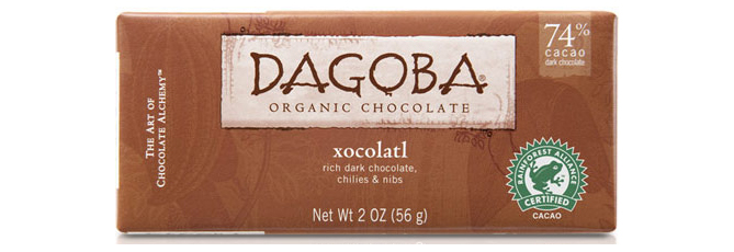 Xocolatl Organic Dark Chocolate With Chilies and Nibs (74% Cacao), by Dagoba